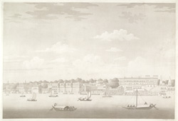 'Cossimundia Ghaut Benares'.  Aquatint, drawn and engraved by James Moffat, published Calcutta,  undated.